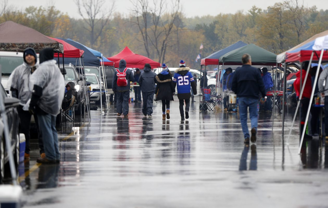 The persistent rain on Sunday morning may have had a major impact on the season-high Bills game TV rating. (Mark Mulville/Buffalo News)