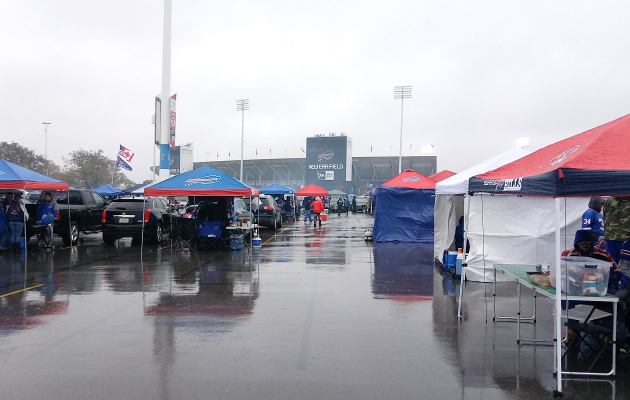 After a few weeks of better-than-average weather, Sunday's Bills tailgate was a wet one Oct. 29, 2017. (Luke Hammill/Special to The News)