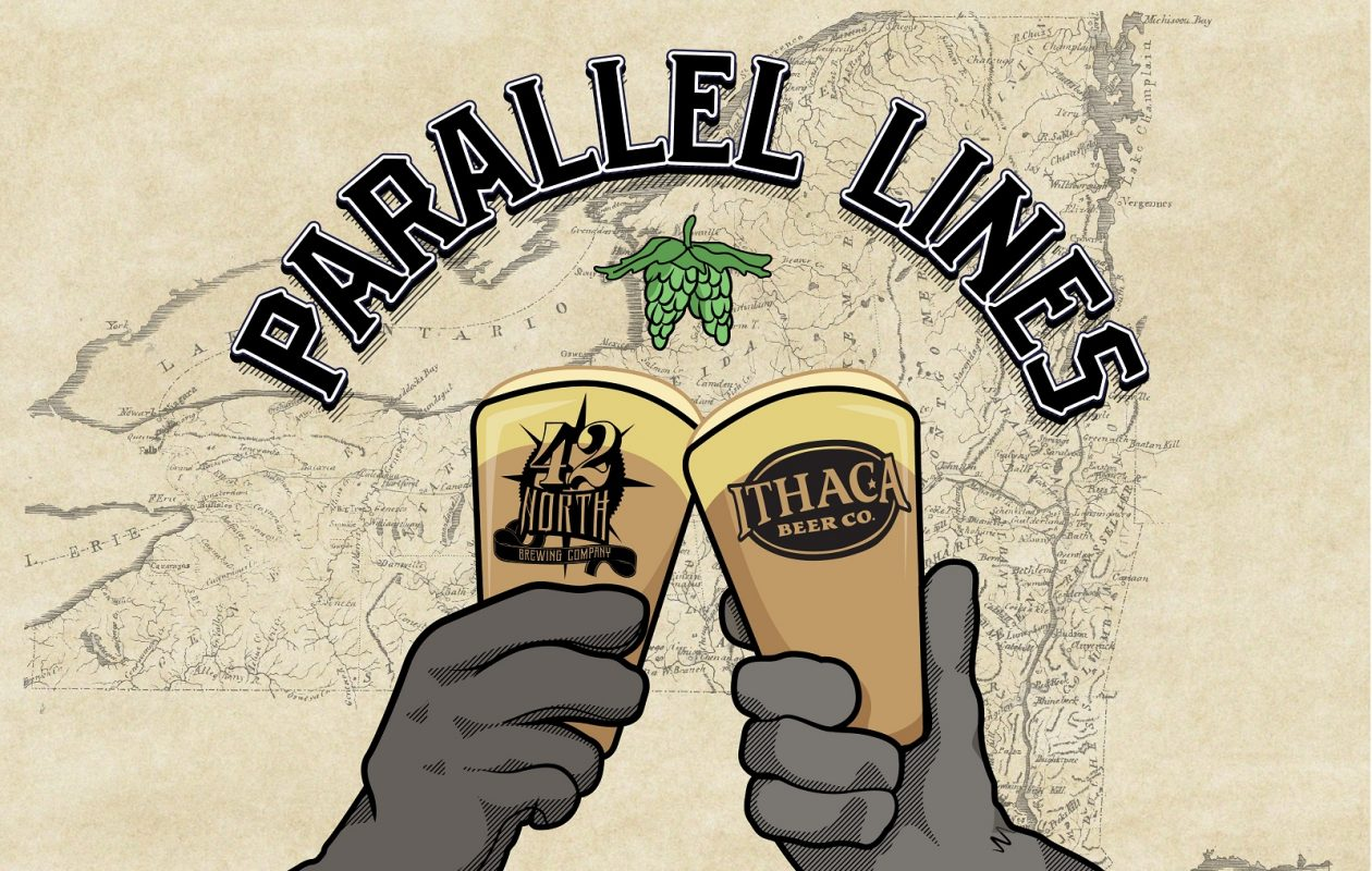 42 North's beer in collaboration with Ithaca Beer Company is called Parallel Lines. (via 42 North)