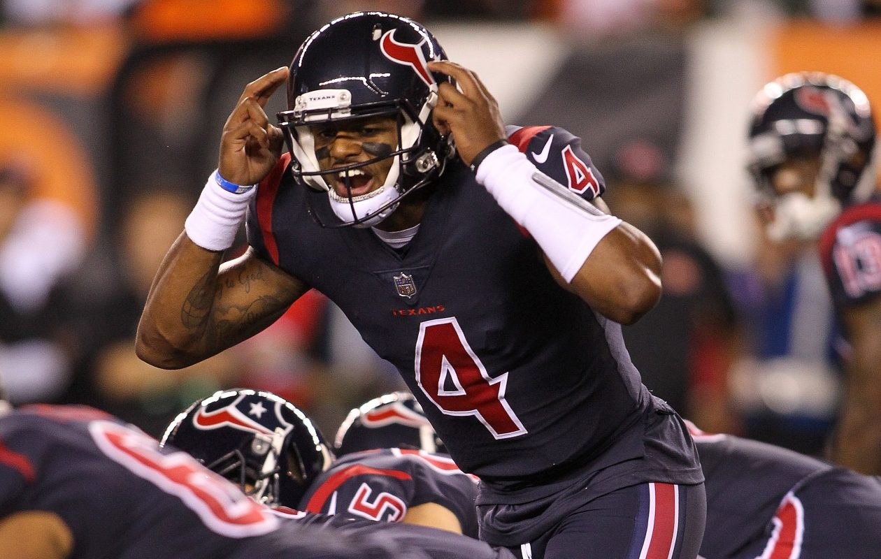 Texans quarterback Deshaun Watson will have to deal with the Seahawks defense and a raucous crowd when  Houston plays at Seattle on Sunday. (Getty Images)