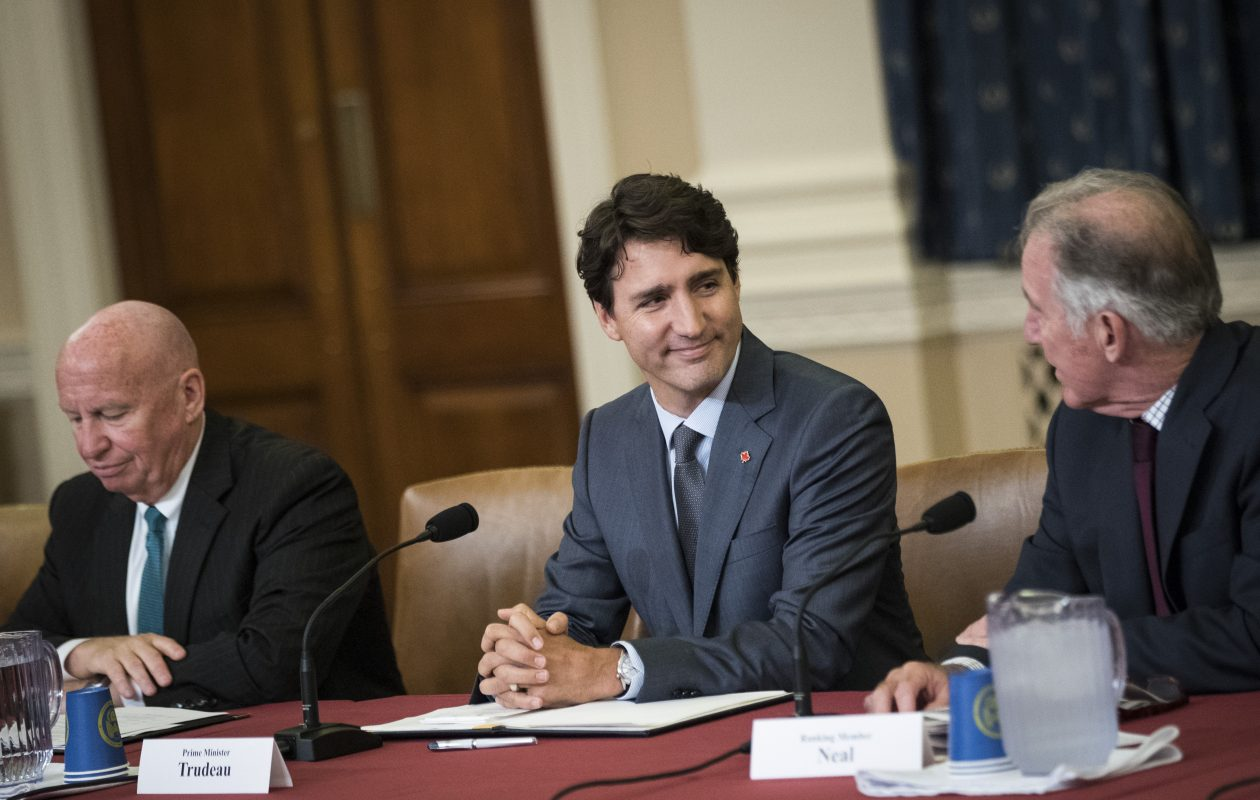 Canadian Prime Minister Justin Trudeau, center, meets with the House Ways and Means Committee on Wednesday, Oct. 11, 2017, in Washington, D.C. At left is committee chairman  Rep. Kevin Brady, R-Texas, and Rep. Richard Neal, D-Mass., is at right.(Getty Images)
