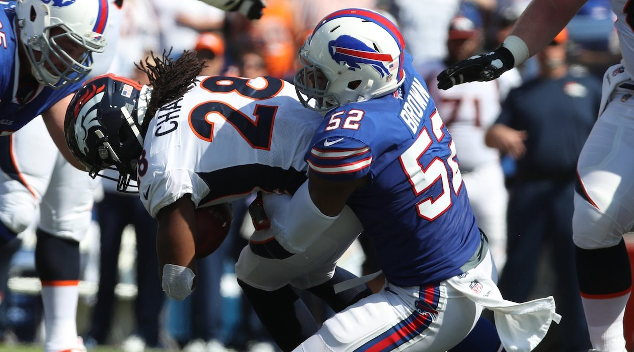 Preston Brown and the rest of the Bills' front seven figure to have their hands full vs. the Jaguars' Leonard Fournette. (James P. McCoy/Buffalo News)