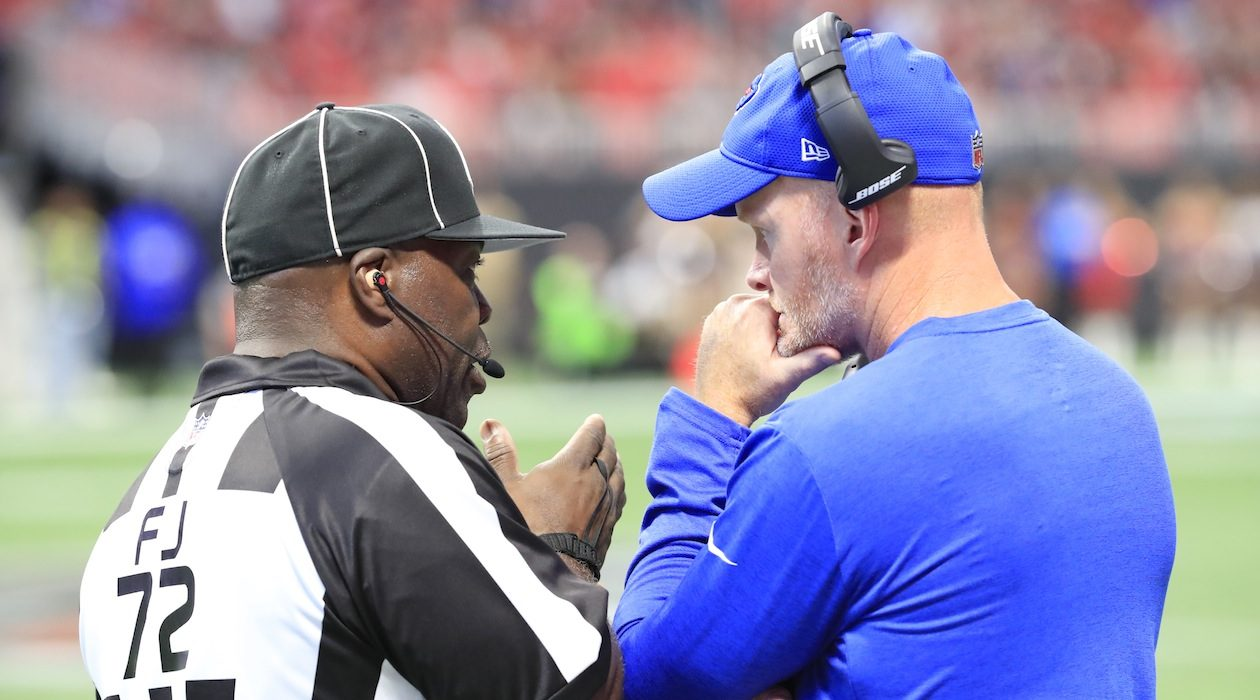 Bills coach Sean McDermott speaks with an official. (Harry Scull Jr./Buffalo News)