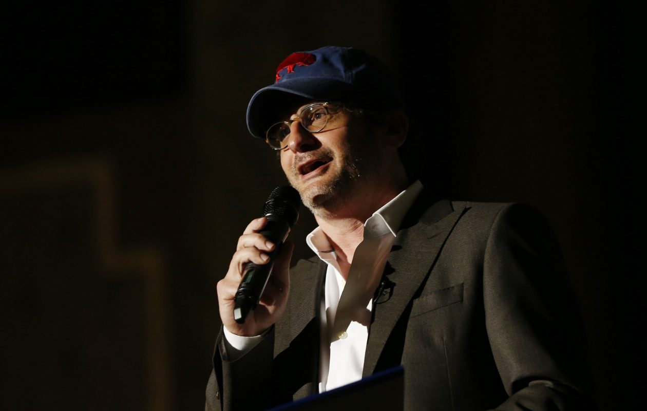 Ben Mankiewicz and his Buffalo Bills hat at the North Park Theatre. (Sharon Cantillon/Buffalo News)
