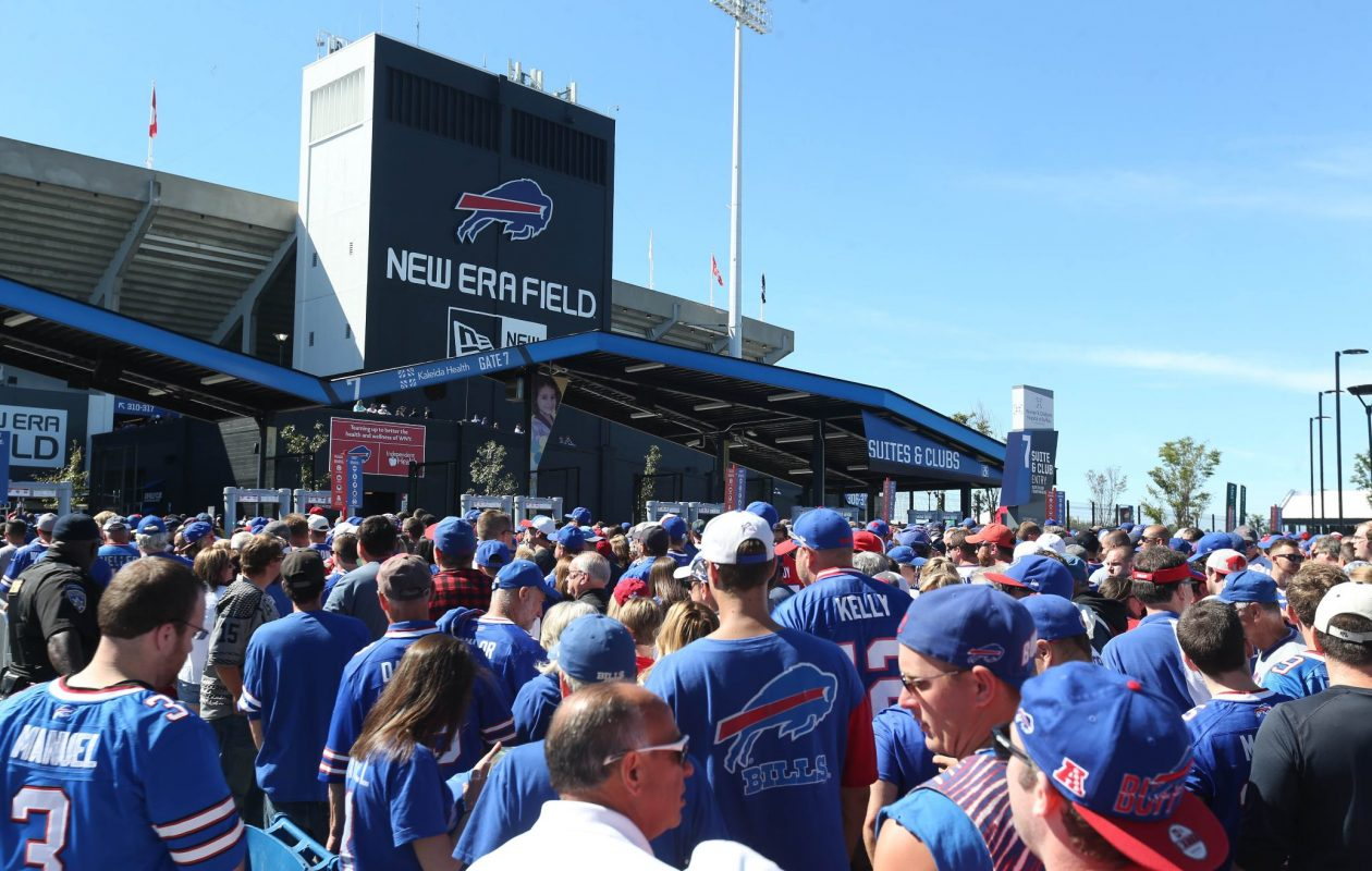 Dozens of private security officers work on the field, in the stands, outside the stadium and at security checkpoints where fans are checked before entering New Era Field.  (Sharon Cantillon/Buffalo News)