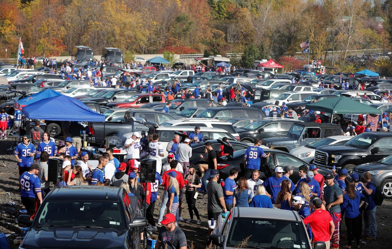 Bills fans tailgate in the parking lot before the game on Oct. 22, 2017. This week's forecast is not as bright. (Mark Mulville/Buffalo News)