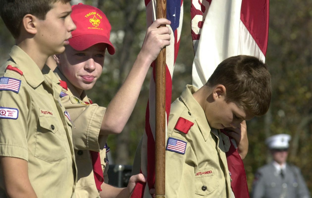 Boy Scouts from Troop 440 during ceremonies at the Amherst Memorial hill grove dedication the Ellicott Creek trailway. (2001 file photo / The Buffalo News)