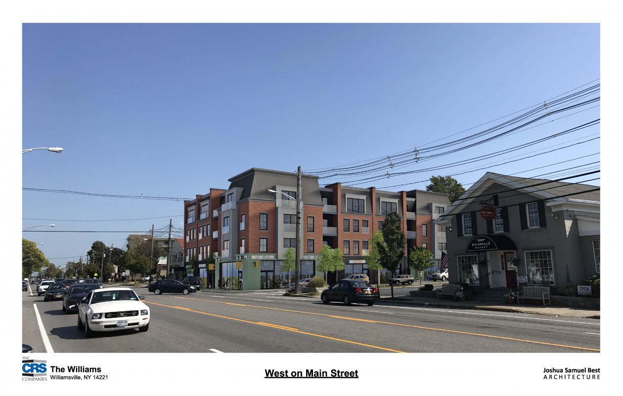 A rendering of a four-story, mixed-used building proposed for the corner of Main and South Long streets in Williamsville. (CRS Companies)