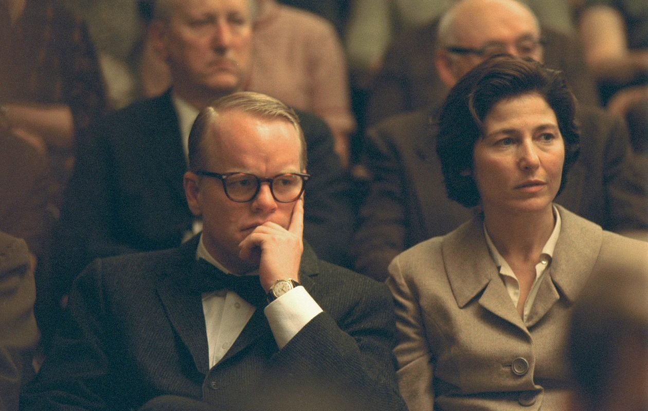 Philip Seymour Hoffman as Truman Capote and Catherine Keener as Nelle Harper Lee in Capote, which told the story of the writing of In Cold Blood.