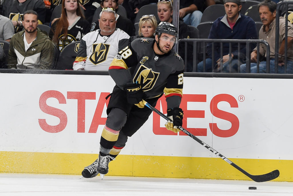 Former Sabre William Carrier of the Vegas Golden Knights skates with the puck Sunday against Boston. (Getty Images)
