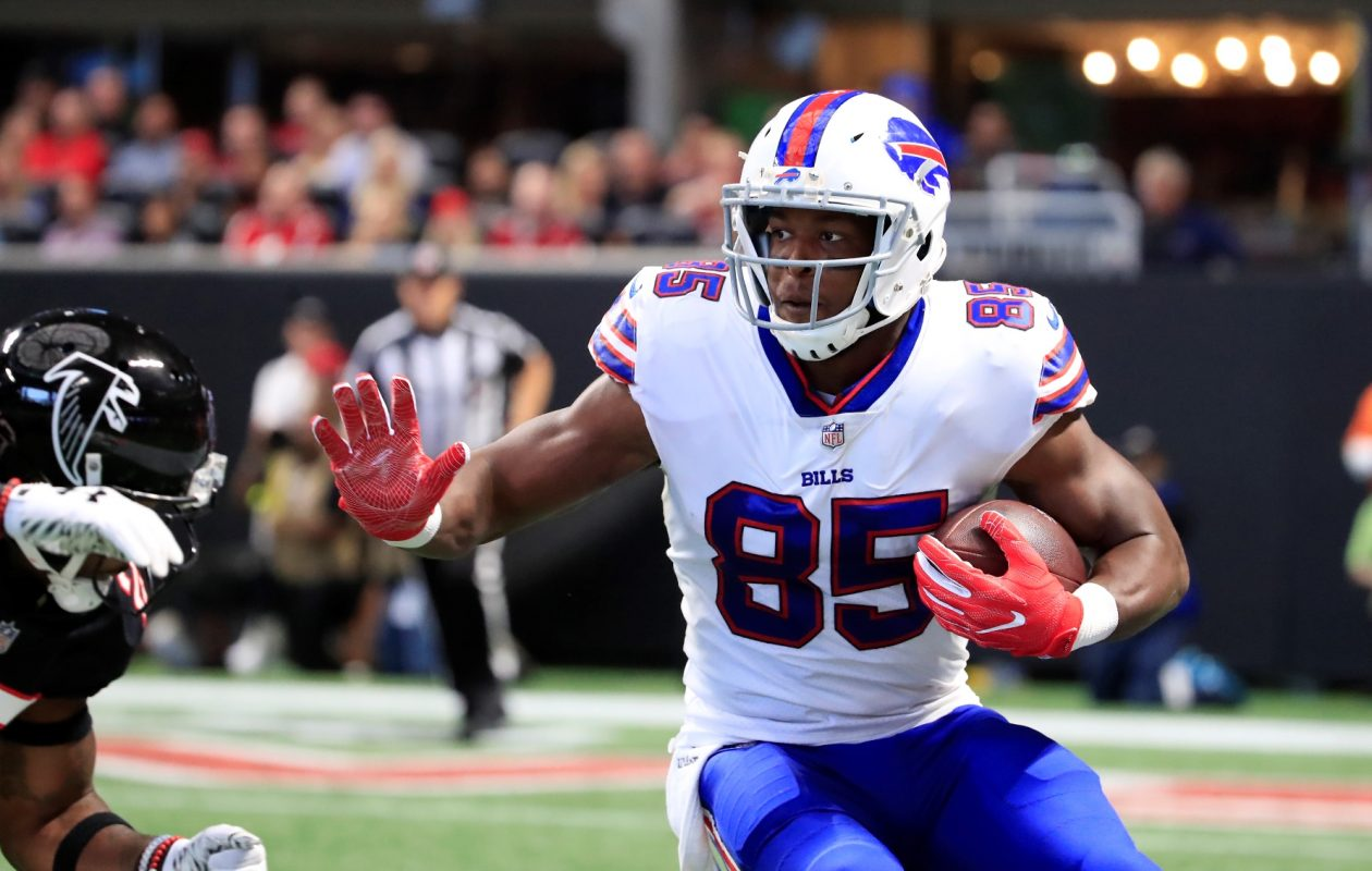 Bills tight end Charles Clay runs after a catch against the Atlanta Falcons during first quarter action at Mercedes-Benz Stadium. (Harry Scull Jr./ Buffalo News)