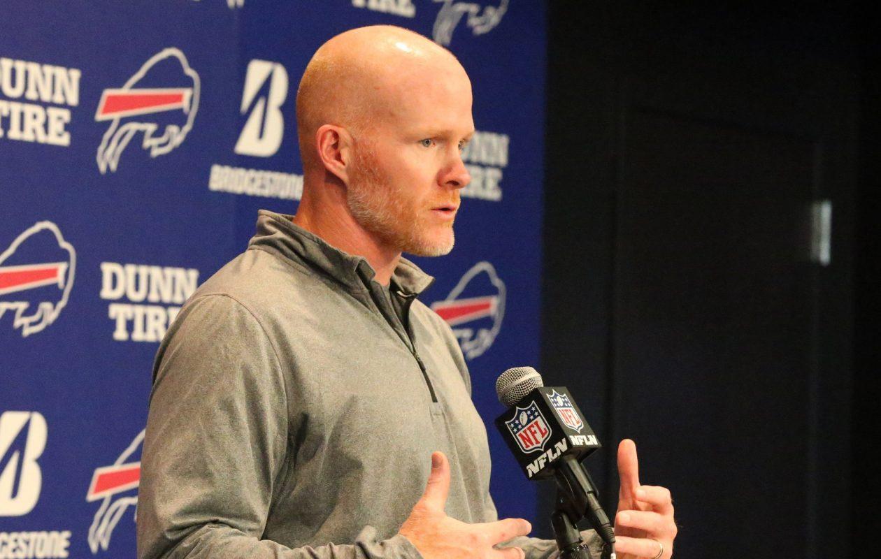 Bills coach Sean McDermott addresses the media Monday. (James P. McCoy/Buffalo News)