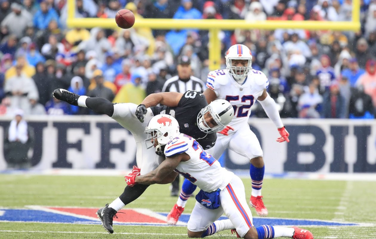 Bills Leonard Johnson jars the ball loose from Raiders DeAndr'e Washington during the second quarter Sunday, Oct. 29, 2017 at New Era Field. (Harry Scull Jr./Buffalo News