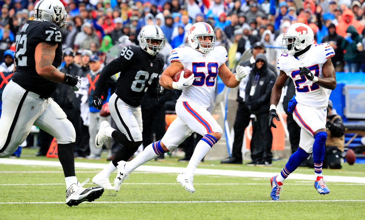 Matt Milano returns a fumble for his first career touchdown. (Harry Scull Jr./Buffalo News)