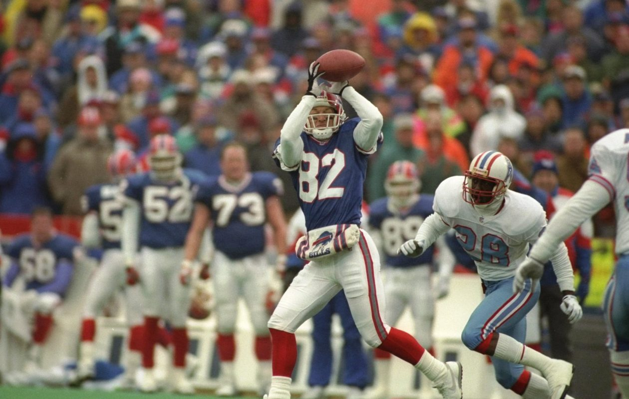 Wide receiver Don Beebe of the Buffalo Bills catches the ball during a playoff game against the Houston Oilers on Jan. 31, 1993, at Rich Stadium in Orchard Park. The Bills won the game in overtime, 41-38. (Getty Images)