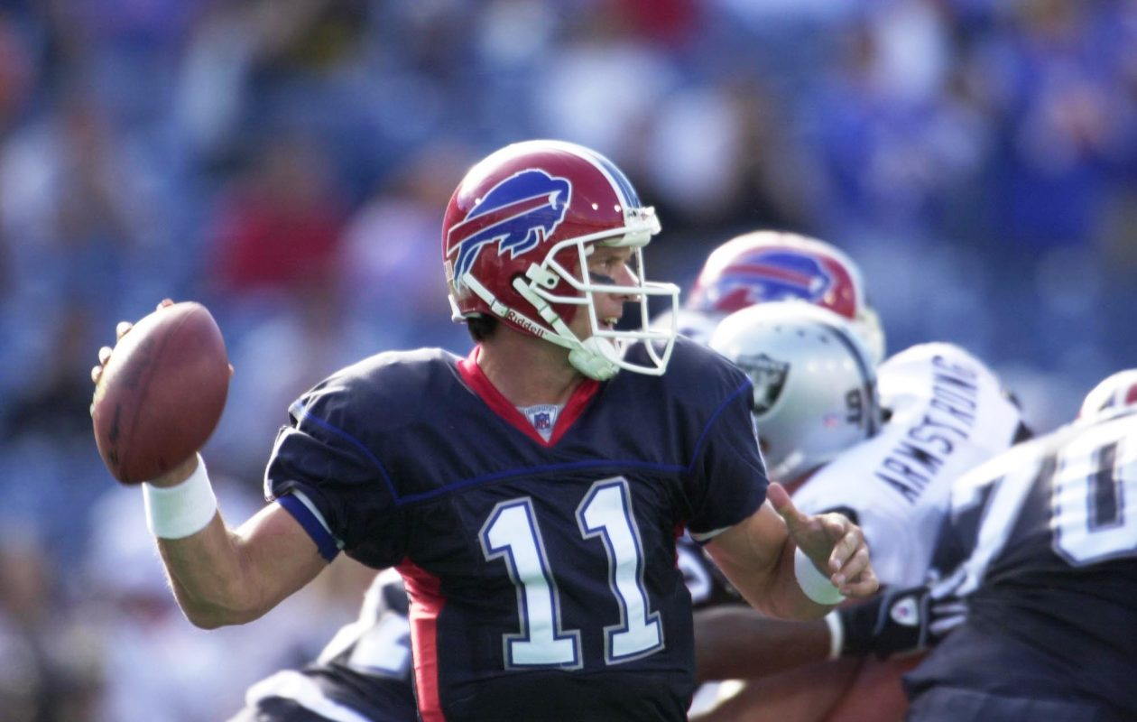 Drew Bledsoe finished the game against the Oakland Raiders 32 for 53 for 417 yards and three big interceptions. (Buffalo News file photo)