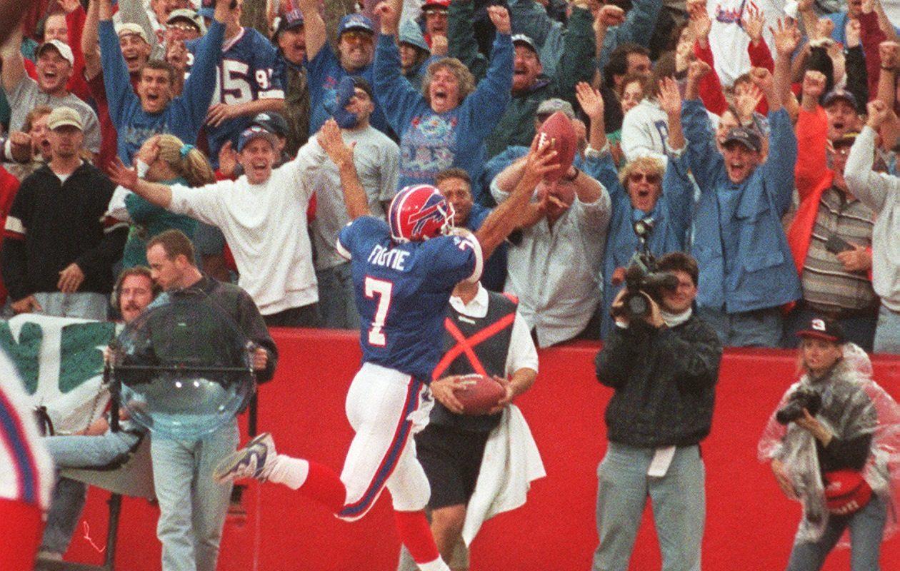 Bills quarterback Doug Flutie scores the game winner vs. the Jaguars on Oct. 18, 1998, at Rich Stadium in Orchard Park. (Buffalo News file photo)