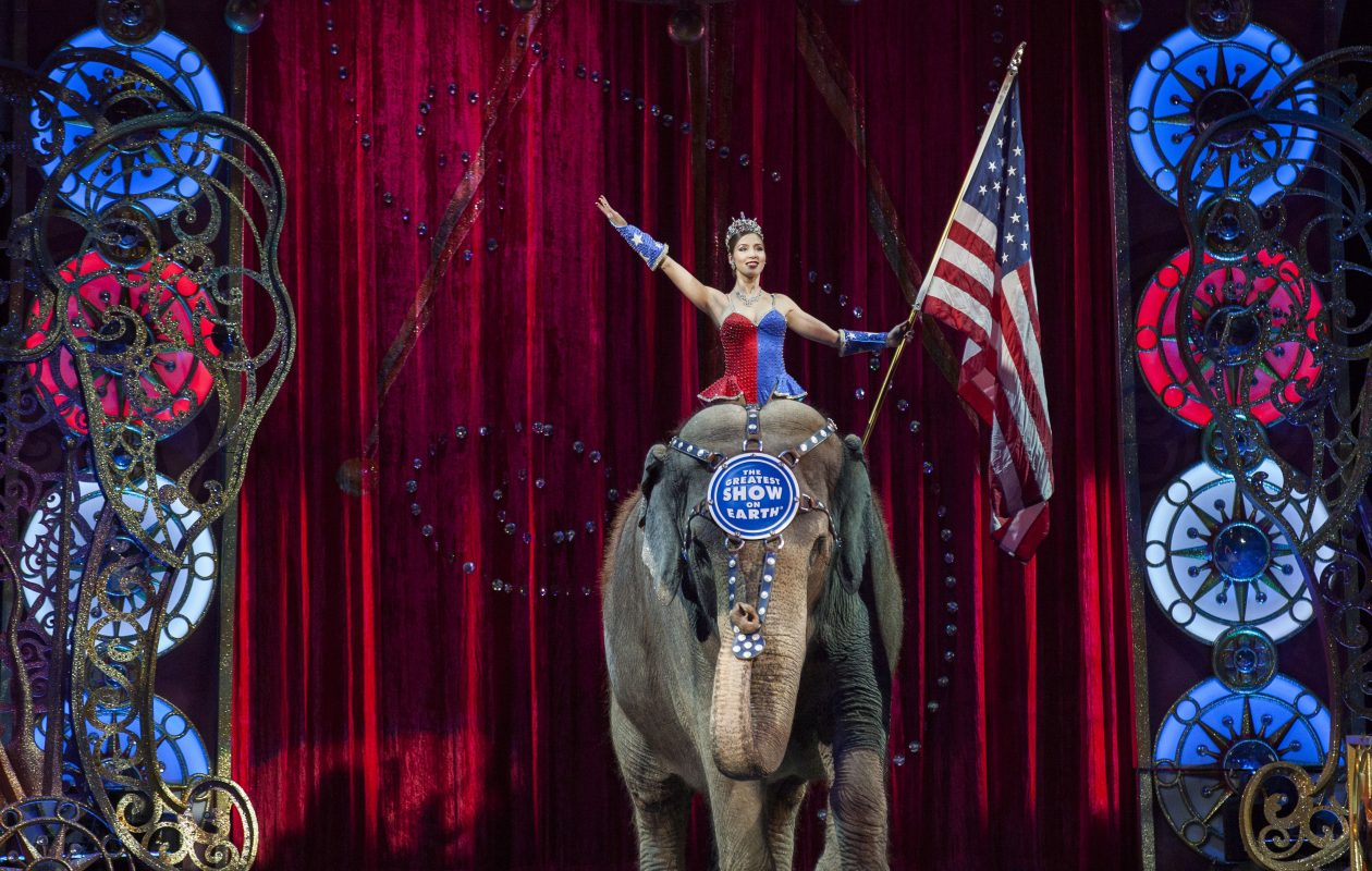 A performer rides an elephant during a Ringling Bros. and Barnum & Bailey Circus performance in  2015. (Getty Images)