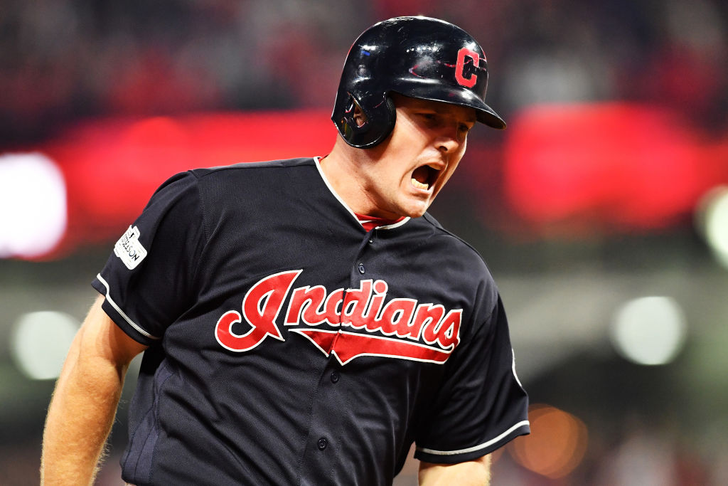 Jay Bruce of the Cleveland Indians reacts after his solo home run in the eighth inning against the New York Yankees during Game Two of the American League Division Series. (Getty Images)