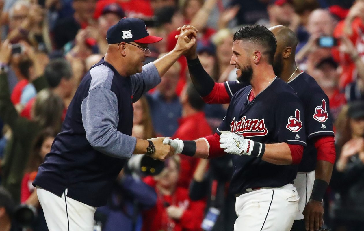 CLEVELAND, OH – OCTOBER 06:  Yan Gomes #7 of the Cleveland Indians celebrates with manager Terry Francona #17 after he hit a an RBI single scoring Austin Jackson #26 to win the game 9 to 8 in the 13th inning during game two of the American League Division Series at Progressive Field on October 6, 2017 in Cleveland, Ohio.  (Photo by Gregory Shamus/Getty Images)