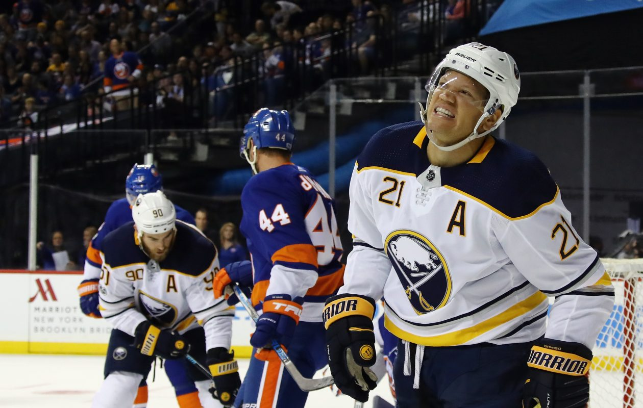 The previous game wasn't fun for Buffalo's Kyle Okposo (21) and Ryan O'Reilly. (Getty Images)
