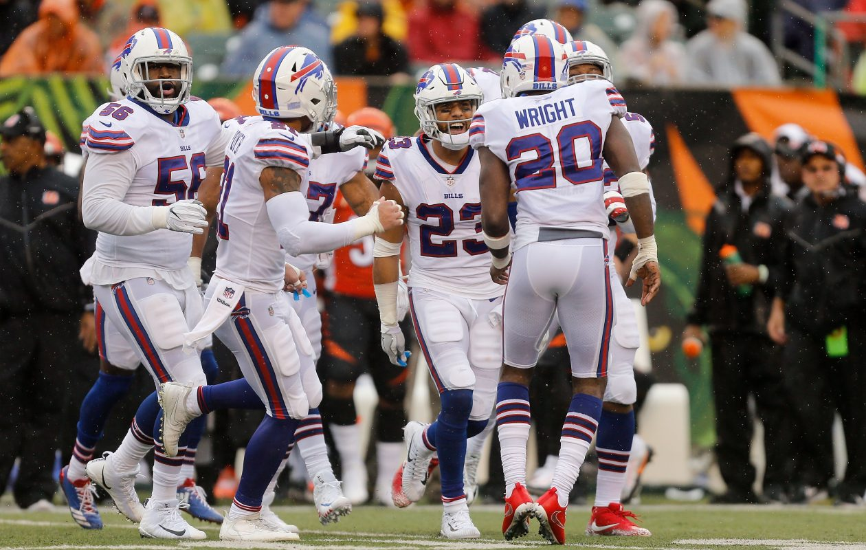 Micah Hyde (23) of the Buffalo Bills is congratulated by his teammates after making an interception during the second quarter of the game against the Cincinnati Bengals at Paul Brown Stadium on October 8, 2017 in Cincinnati, Ohio. (Photo by Michael Reaves/Getty Images)