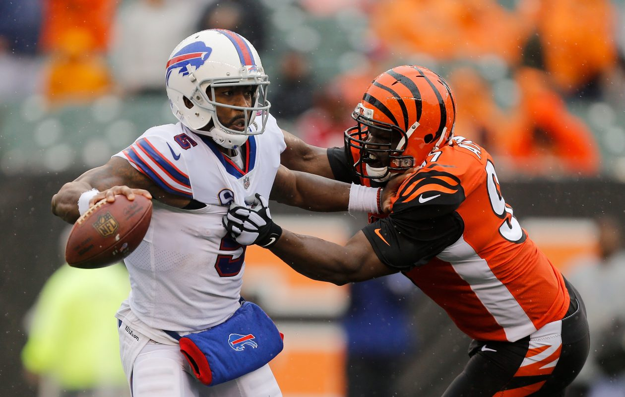 The Bills fell slightly in most national power rankings after the loss to the Bengals, but are still thought to be in the top half of the league.  (Michael Reaves/Getty Images)