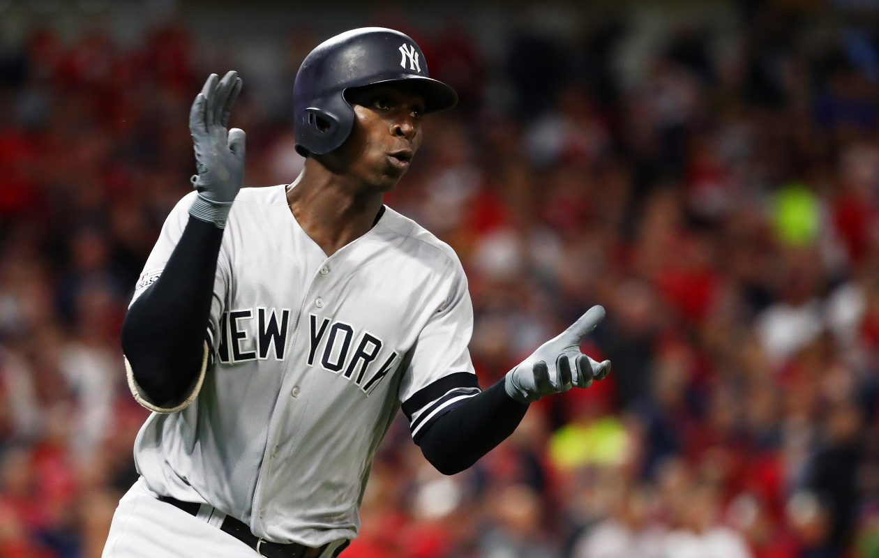 Didi Gregorius of the New York Yankees celebrates as he runs the bases after hitting a solo home run in the first inning. (Getty Images)