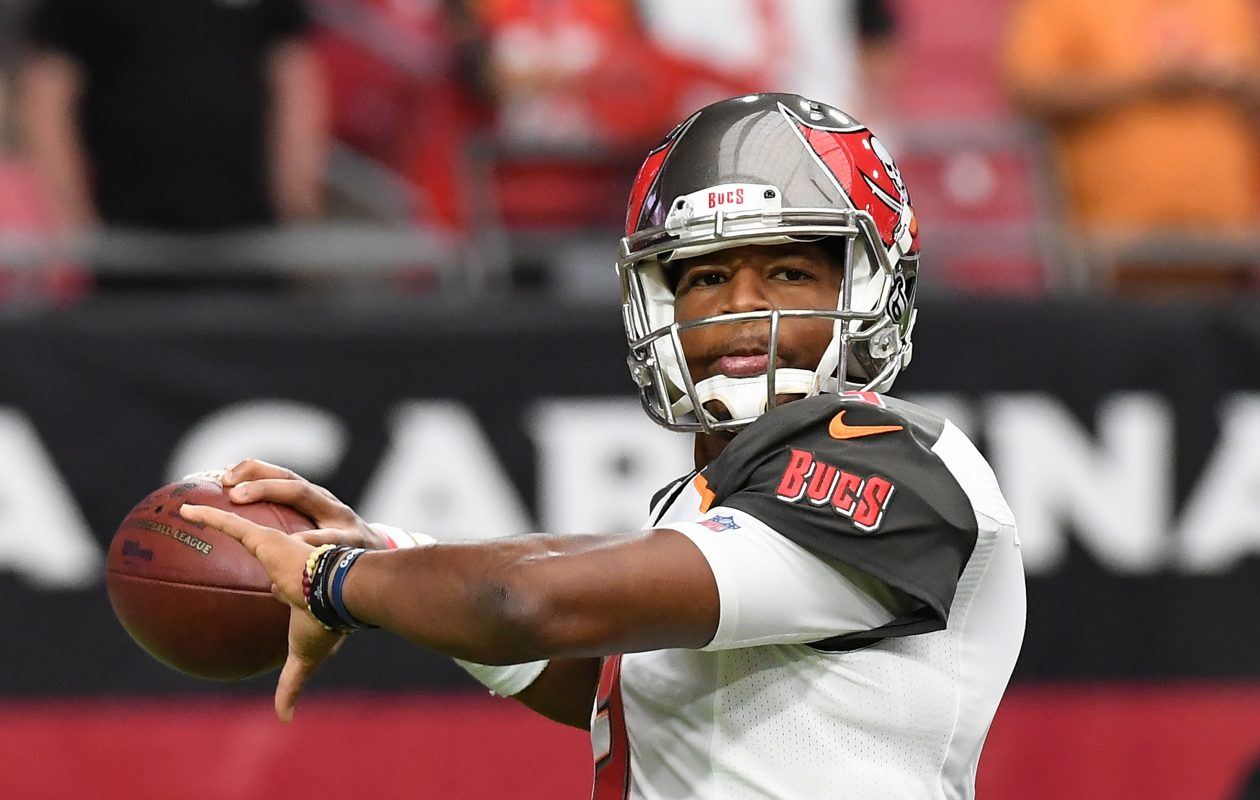 Jameis Winston of the Tampa Bay Buccaneers is likely to be out when the team plays the Bills next Sunday. (Norm Hall/Getty Images)