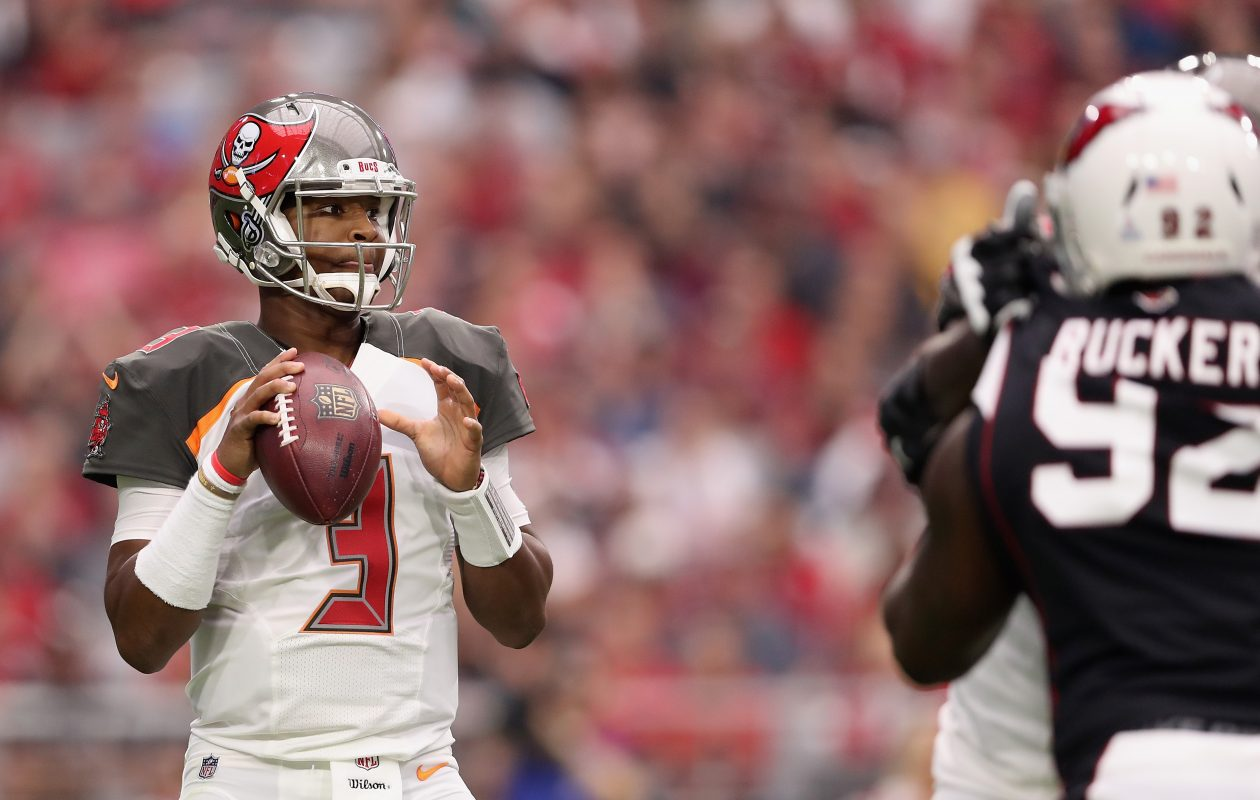 Jameis Winston of the Tampa Bay Buccaneers drops back to pass. (Photo by Christian Petersen/Getty Images)