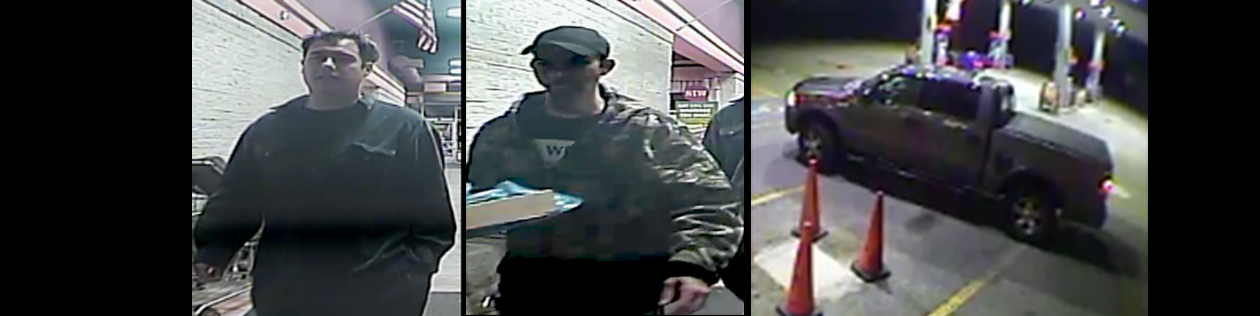In this photo provided by the Marshals Service, the unknown male traveling with Joshua Gurto is on the left; Gurto, who is wanted by police in Ohio for the aggravated murder and rape of a 13-month-old girl is in the middle; and Gurto's truck is on the right. (Photo courtesy of the U.S. Marshals Service.)