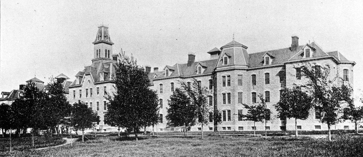 A black and white photograph of the Erie County Almshouse and Hospital, before it became Hayes Hall.  (Photograph from Buffalo Medical Journal, 35 (1896): p.107  University Archives Photograph Collection/UA 20DD)