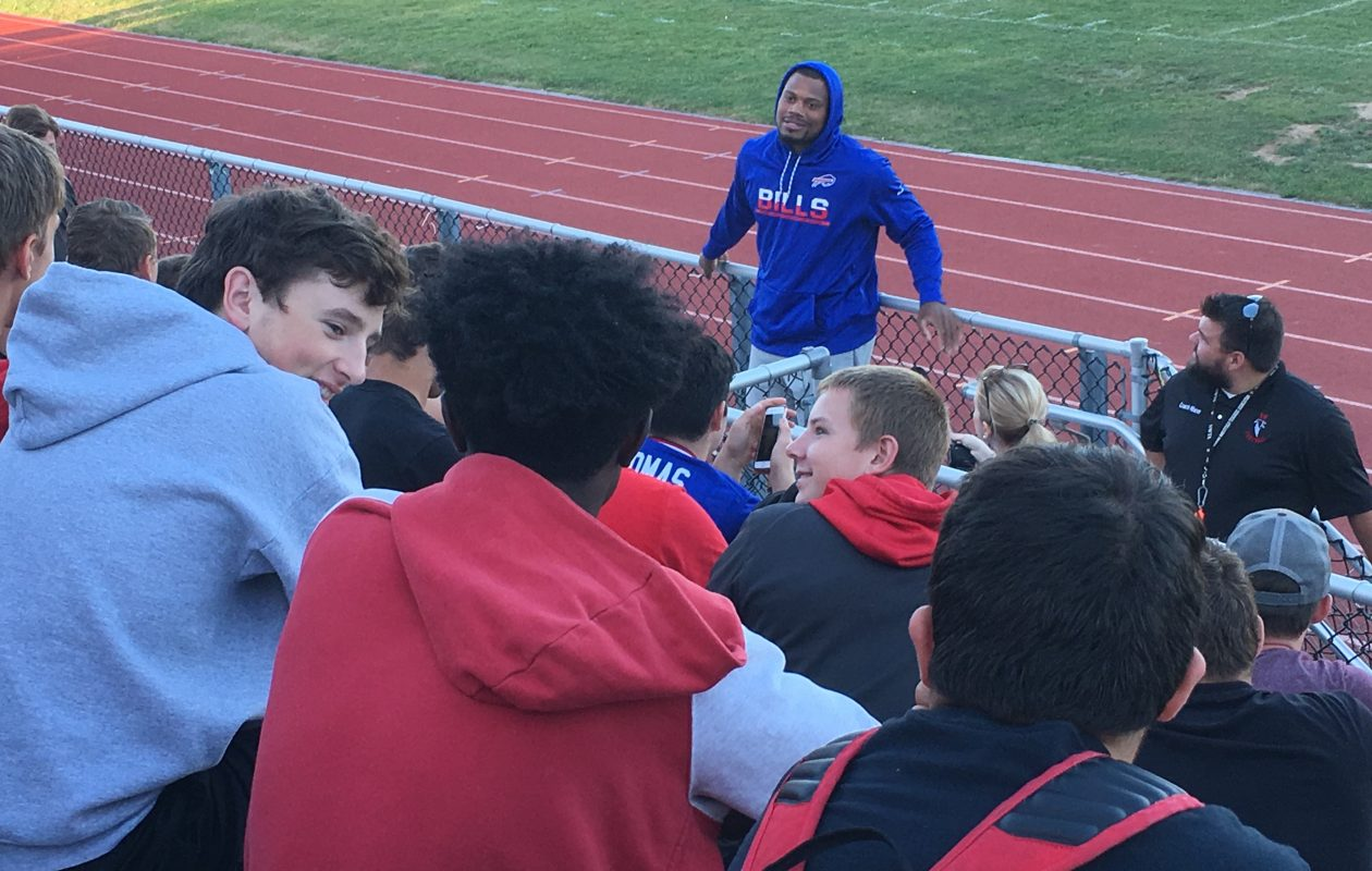 Bills linebacker Preston Brown visited Niagara-Wheatfield High School last week to launch his Preston's Playbook program. Brown donated to help the school rent stadium lights for Friday's homecoming football game. (Jonah Bronstein/Special to The News)