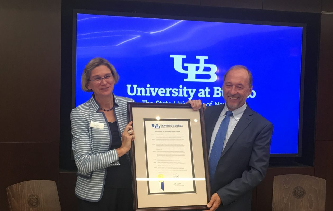 From left: Leisl Folks, dean of UB's School of Engineering & Applied Sciences, and UB alumnus Stephen Still, who donated $4 million to the university