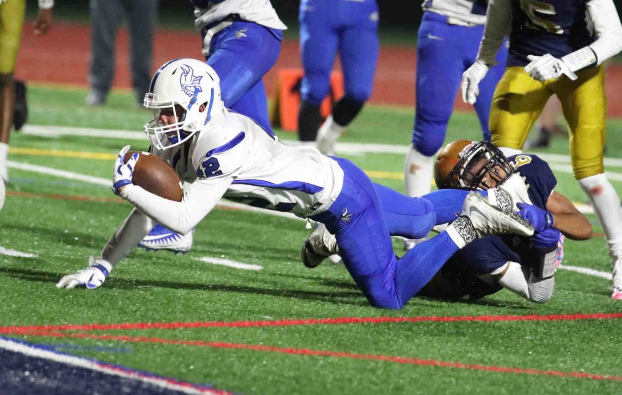 Easton Speer and the Grand Island Vikings remain at No. 6 in the large schools poll following a 28-0 win at Sweet Home. (James P. McCoy/Buffalo News)