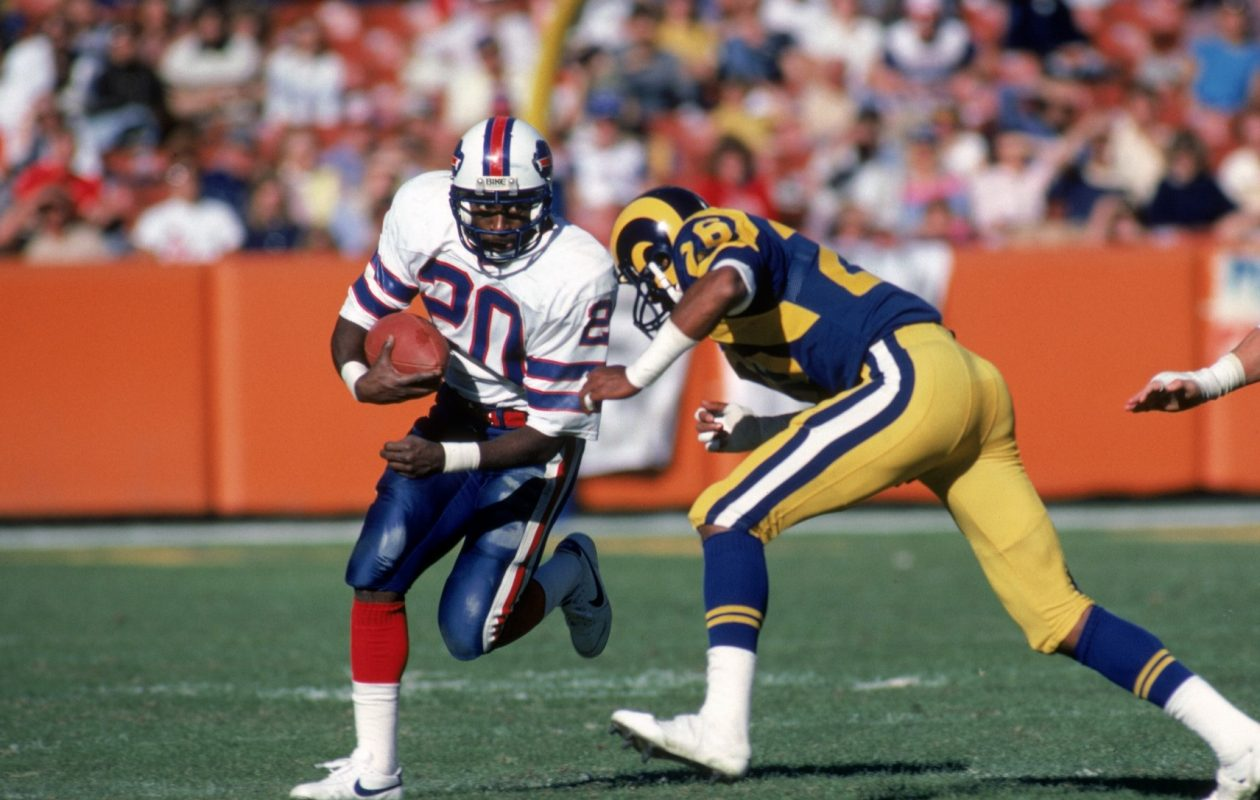 On Oct. 4, 1981, Bills running back Joe Cribbs had one of the best games of his career. He's pictured here in a 1983 game against the Los Angeles Rams.  (Getty Images)
