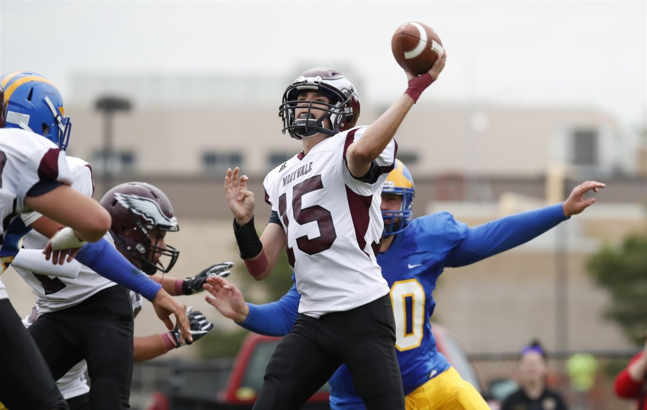 Quarterback Connor Desiderio and the Maryvale Flyers host crosstown rival Cheektowaga on Friday night. (Harry Scull Jr./Buffalo News)