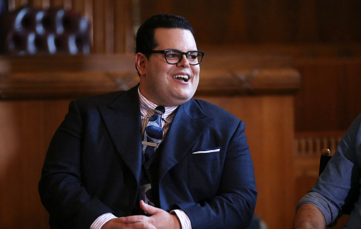 Josh Gad laughs as he talks July 1 about the great food and sights around Buffalo. He and the rest of the 'Marshall' cast received a key to the city from Mayor Byron Brown at that time. (Sharon Cantillon/News file photo)