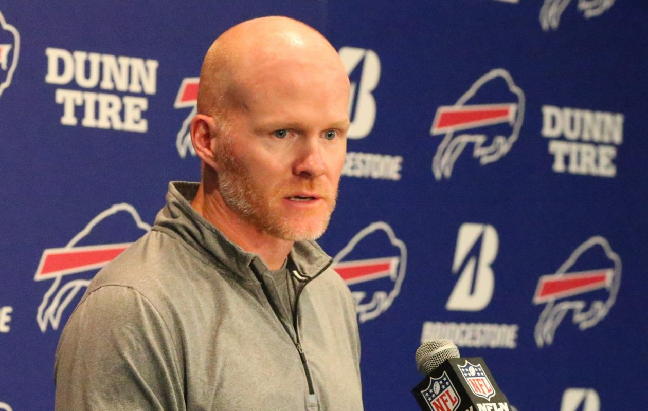 Buffalo Bills head coach Sean McDermott answers questions from the media. (James P. McCoy/Buffalo News)