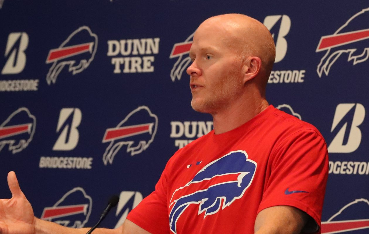 Bills head coach Sean McDermott speaks to the media. (James P. McCoy/Buffalo News)