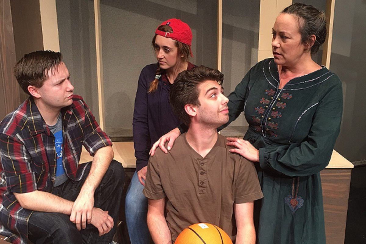 """The cast of """"New Kid,"""" an immigrant tale to be performed this month by Theatre of Youth, includes, from left, Mike Benoit (Mug), Clarissa Maloy (Mench), Zachary Bellus (Nick) and Lisa Vitrano (mother). (Photo courtesy of Theatre  of Youth)"""