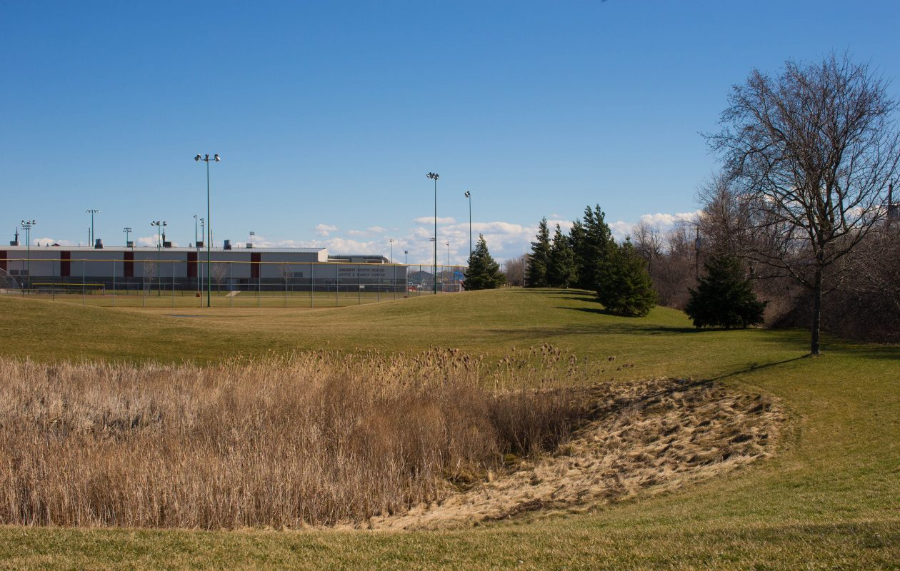 Park land next to the Northtown Center on Amherst Manor Drive where Uniland plans to construct a Hampton by Hilton hotel. The Amherst Planning Board will review the project site plan this month. (News file photo)