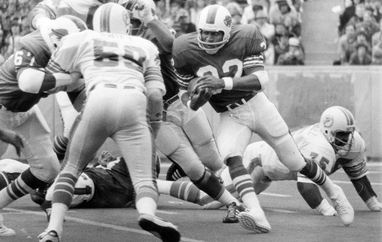 """O.J. Simpson had finally broken out in 1972, reaching his potential as """"the next Jim Brown"""" by breaking Brown's 1963 single-season rushing record of 1,863 yards with 2,003 yards rushing. (Buffalo News file photo)"""
