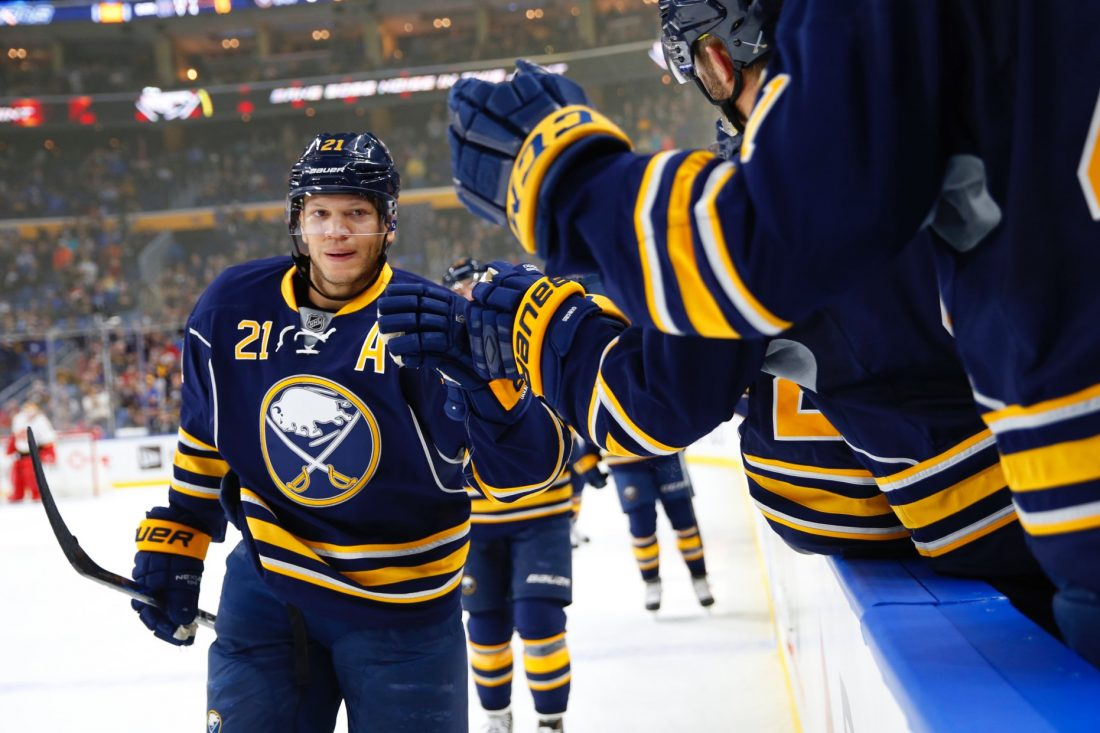 The Sabres committed a jersey foul with the name on the back of Kyle Okposo's sweater Monday (Harry Scull Jr./Buffalo News file photo).