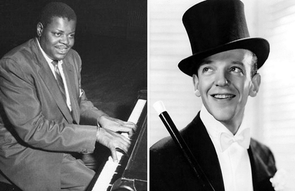 Oscar Peterson, left, and Fred Astaire collaborated on one of the best jazz packages in history, according to Jeff Simon. He discusses the reissued disc.