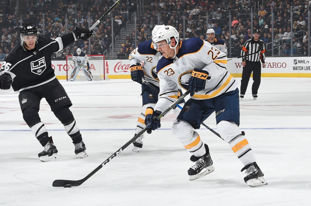Sam Reinhart had some good scoring chances Saturday in Los Angeles and was credited with a goal Sunday in Anaheim. (Getty Images)