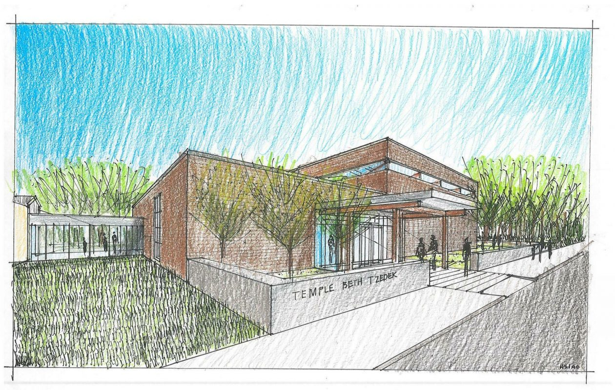 A rendering of the synagogue addition for Temple Beth Tzedek on North Forest Road, where work is set to begin this week. (Provided by Temple Beth Tzedek.)