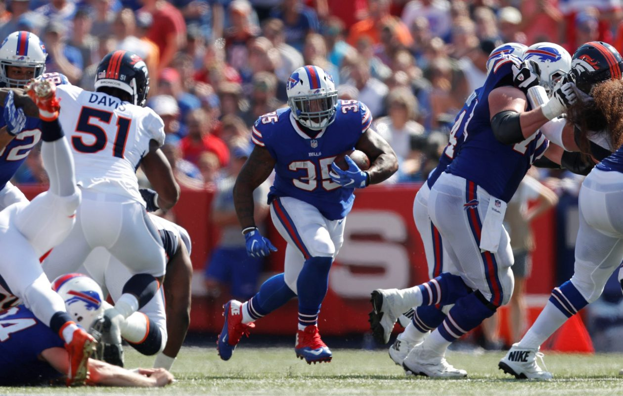 Buffalo Bills fullback Mike Tolbert (35) runs the ball against the Denver Broncos during the second quarter at New Era Field in Orchard Park on Sunday, Sept. 24, 2017.  (Mark Mulville/Buffalo News)