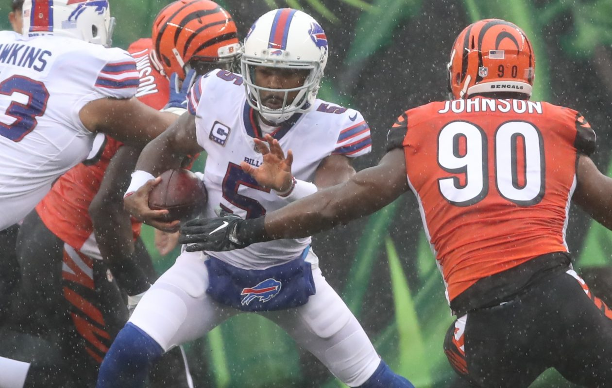 Buffalo Bills quarterback Tyrod Taylor was sacked six times in Cincinnati. (James P. McCoy/Buffalo News)