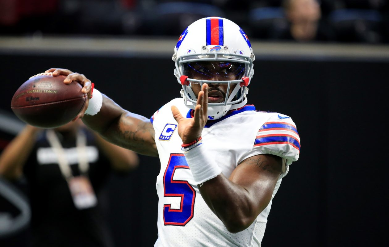 Tyrod Taylor has a big new target in receiver Kelvin Benjamin. (Harry Scull Jr./Buffalo News)